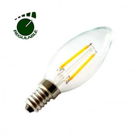 Bombilla vela filamentos LED 360º 4W REGULABLE